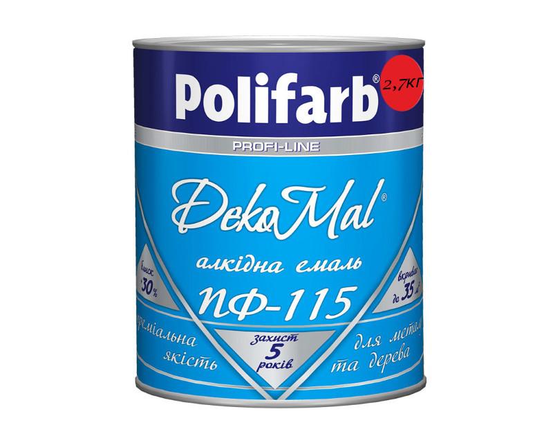 Эмаль алкидная POLIFARB ПФ-115 DEKOMAL универсальна, красная, 2,7кг