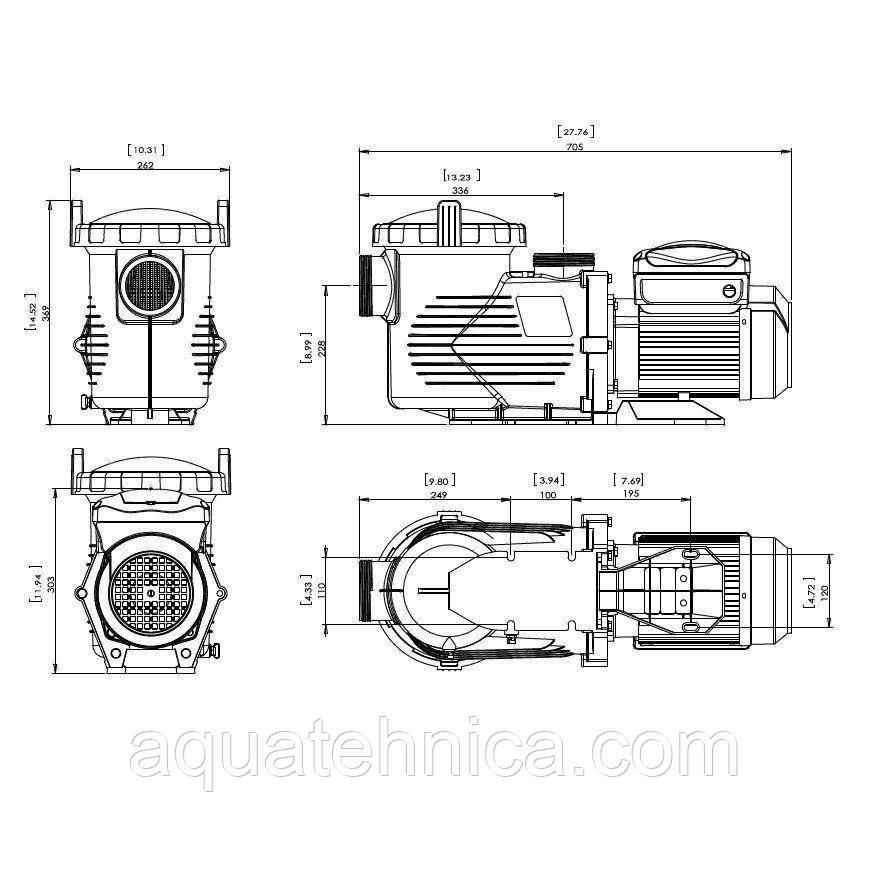Насос для бассейна Emaux EPV300 (220В, 34.5м³/час, 3HP) с пер. скор