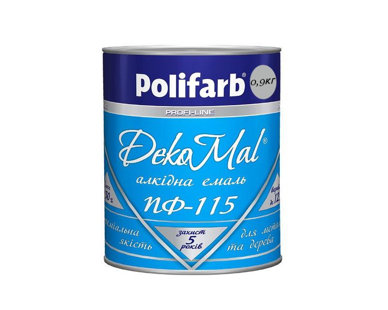 Эмаль алкидная POLIFARB ПФ-115 DEKOMAL универсальна, светло-серая, 0,9кг