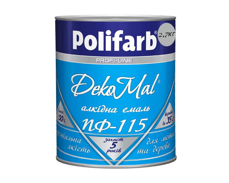 Эмаль алкидная POLIFARB ПФ-115 DEKOMAL универсальна, светло-серая, 2,7кг
