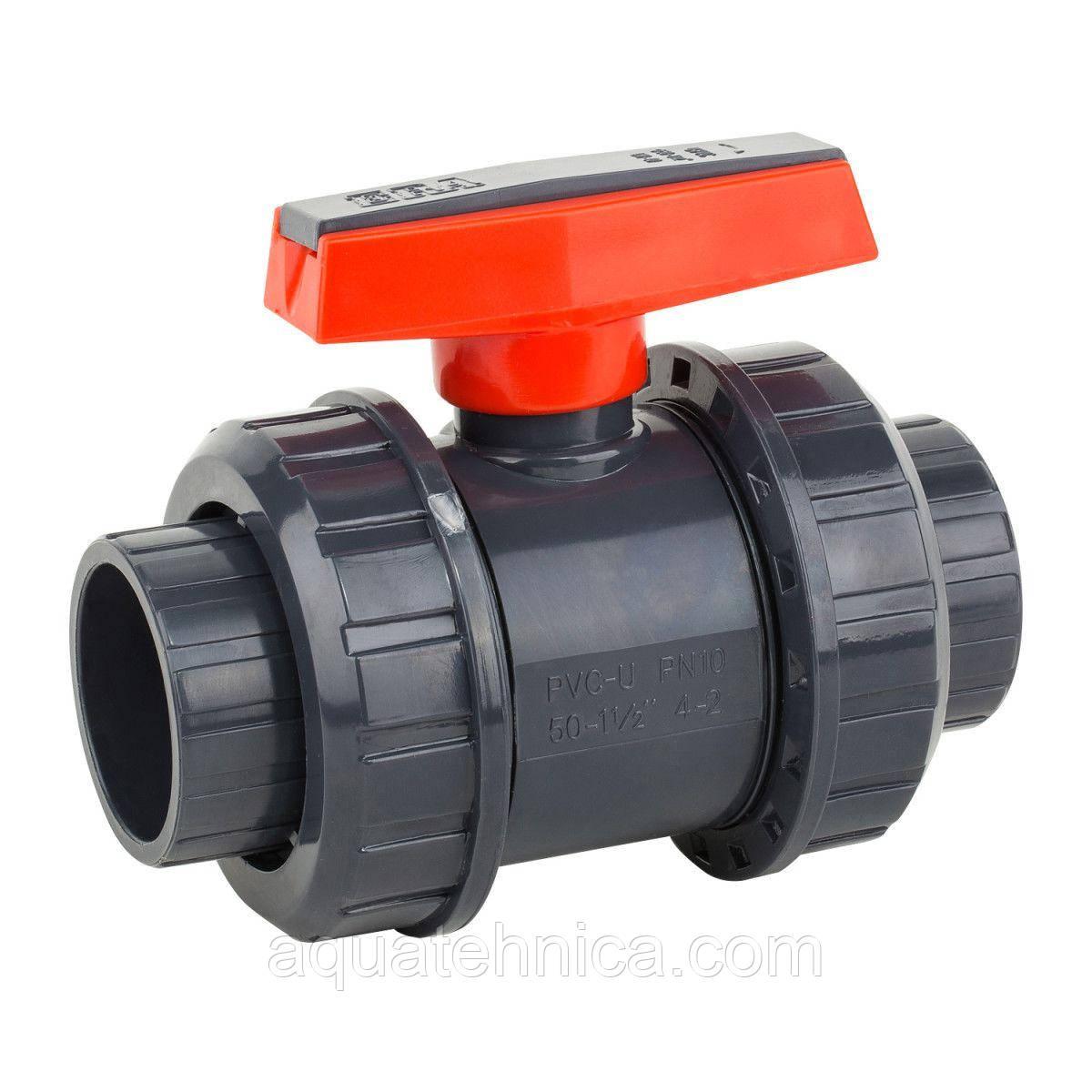 Кран шаровой ПВХ Kripsol VEP 50.D D50 мм под клей для бассейна