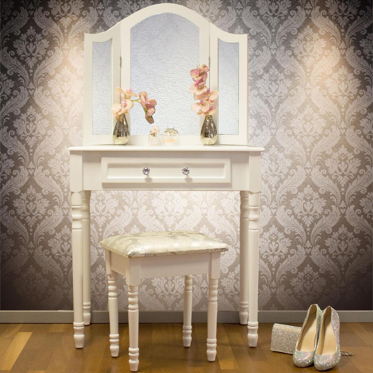Туалетний столик Amelia з табуретом і дзеркалами