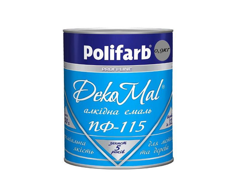 Эмаль алкидная POLIFARB ПФ-115 DEKOMAL универсальна, серая, 0,9кг