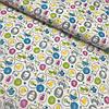 Ситец с разноцветными кружочками на белом фоне, ширина 97,5 см