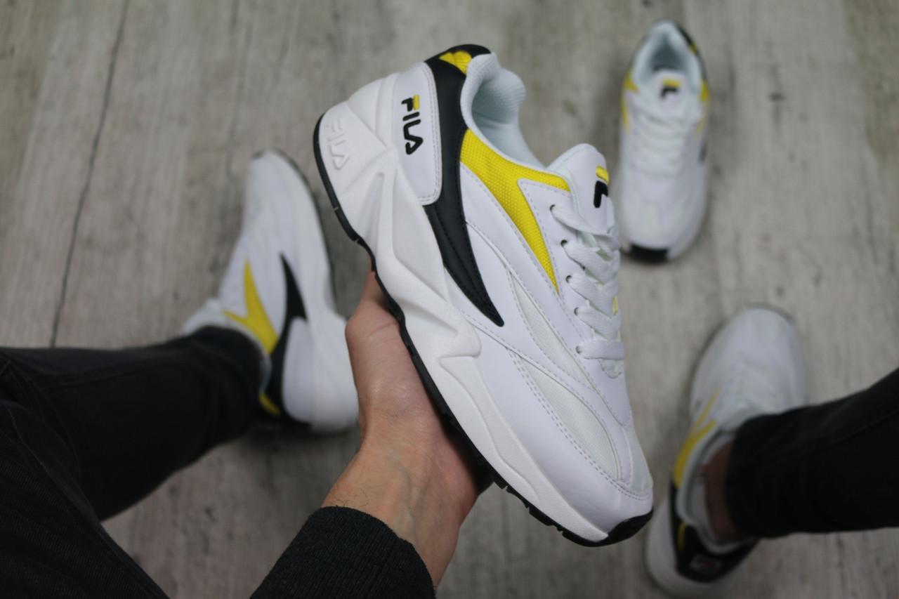 Мужские кроссовки Fila Venom (white/black/yellow), кроссовки Fila Venom, мужские белые кроссовки фила веном