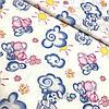 Ситец с голубыми и розовыми слониками на облаке, ширина 95 см