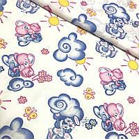 Ситец с голубыми и розовыми слониками на облаке, ширина 95 см, фото 1