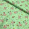 Ситец с собачками, мячиками и бабочками на зеленом фоне, ширина 95 см