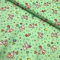 Ситец с собачками, мячиками и бабочками на зеленом фоне, ширина 95 см, фото 1