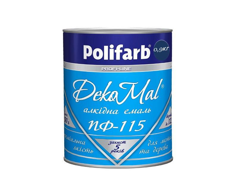 Эмаль алкидная POLIFARB ПФ-115 DEKOMAL универсальна, синяя, 0,9кг
