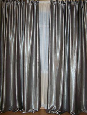 Шторы портьерные Шанзелизе Серебро 150*265= 2 шт, фото 2