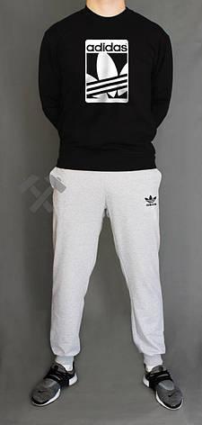 Спортивный костюм зимний Adidas, Адидас, серый, черный (в стиле), фото 2
