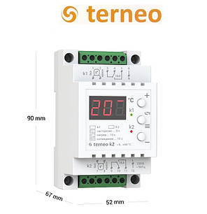 Двухканальный терморегулятор Terneo k2 (на DIN-рейку) DS Electronics, фото 2