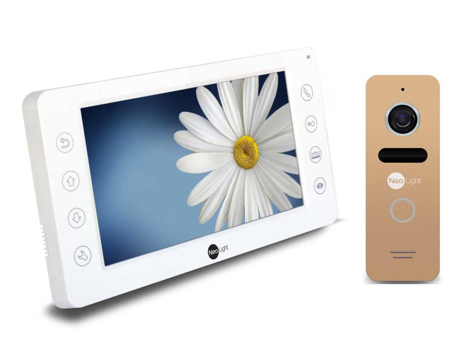 Комплект видеодомофон с вызывной панелью KAPPA LIGHT gold