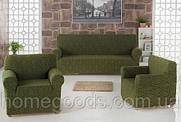 Жаккардовый чехол на трехместный диван и два кресла отправим наложенным платежом