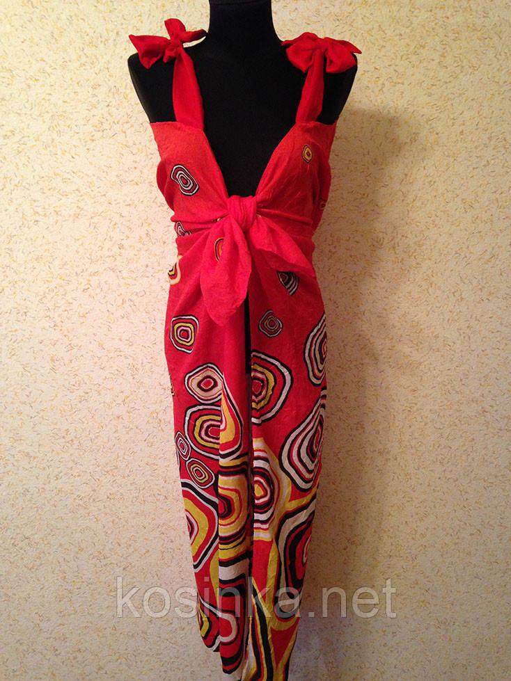 Жіночий червоний пляжний сарафан з геометричним малюнком (кол.30-2)