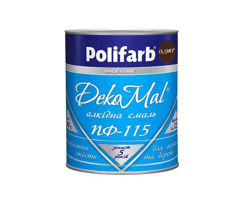 Эмаль алкидная POLIFARB ПФ-115 DEKOMAL универсальна, темно-коричневая, 0,9кг