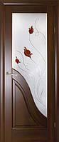Дверь  Амата  витраж каштан ПО 70