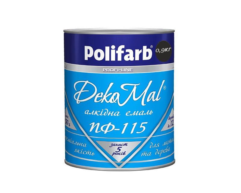Эмаль алкидная POLIFARB ПФ-115 DEKOMAL универсальна, черная, 0,9кг