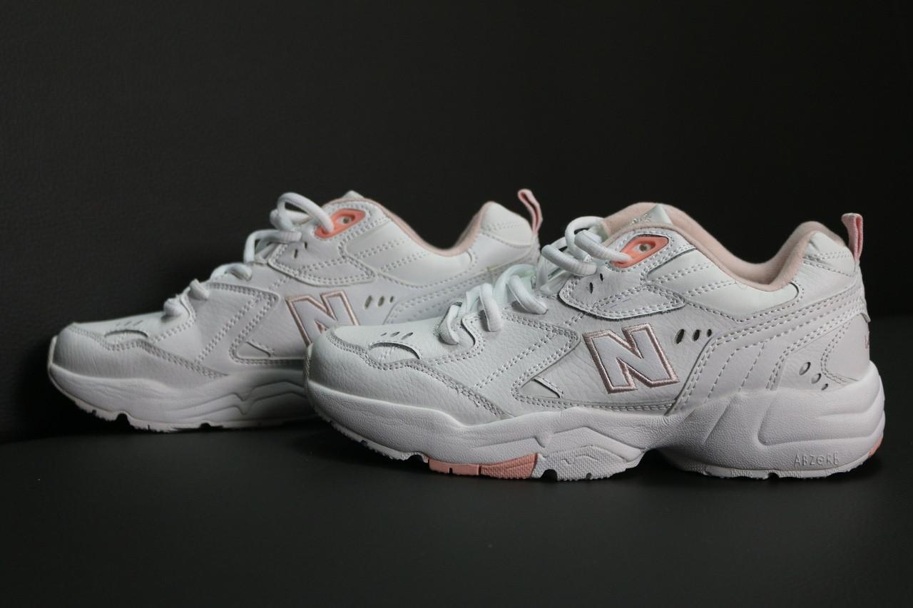 Женские кожаные кроссовки New Balance 608 (white/pink), кожаные New Balance 608, женские нью баланс