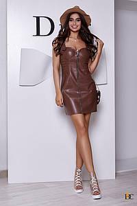 Короткое корсетное платье из экокожи