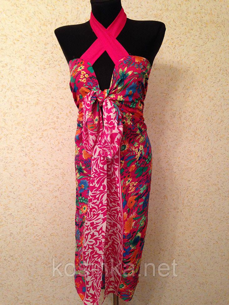 Цветочный пляжный сарафан на завязках №958 (цв.35-3)