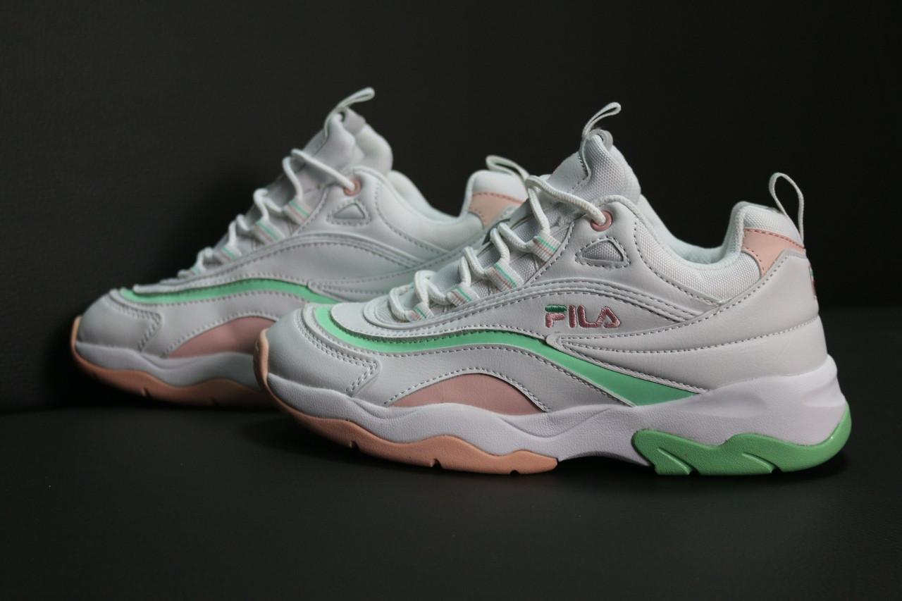 Женские кроссовки Fila Ray (white/pink), кроссовки Fila Ray, женские белые кроссовки фила рей
