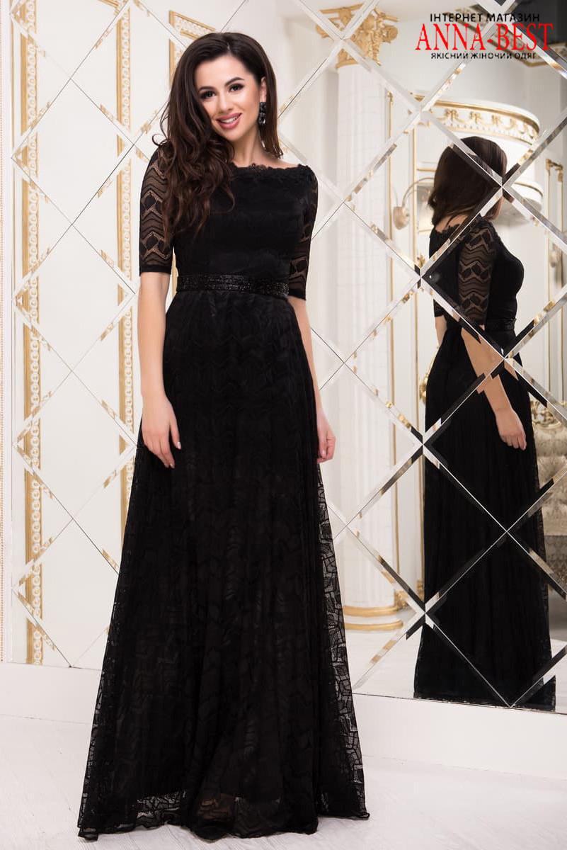 189bb4082c6ad12 Черное гипюровое платье макси вечернее
