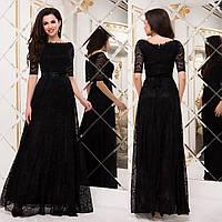 """Черное гипюровое платье макси вечернее размеры 42-52 """"Грация"""""""