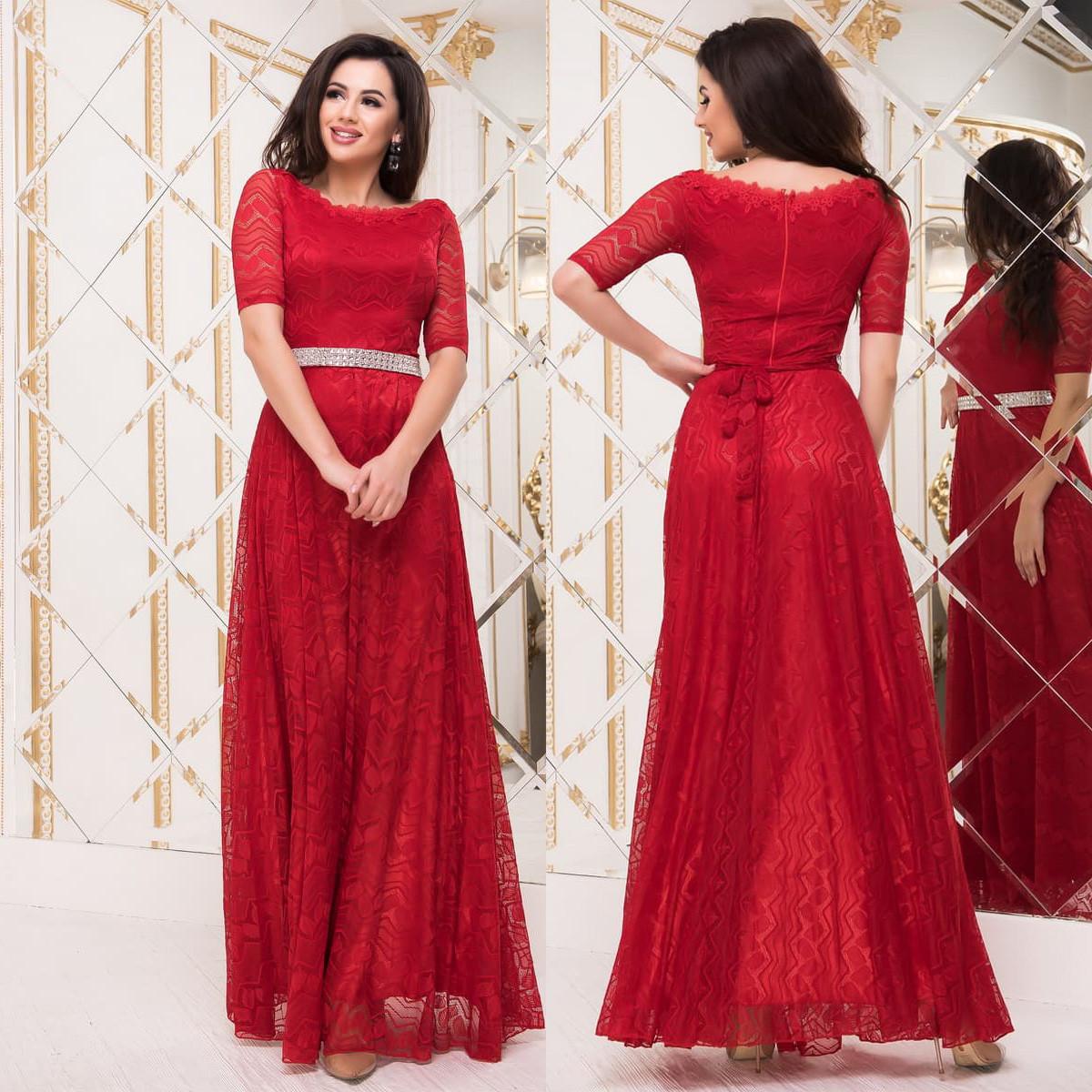 91472a2643c5e79 Красное гипюровое вечернее, выпускное платье в пол