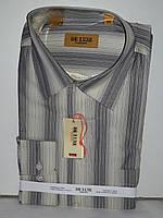 Рубашка мужская De Luxe vd-0001 бежевая в полоску классическая с длинным рукавом