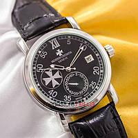 Мужские наручные механические часы Vacheron Constantin patrimony silver black (05010) реплика, фото 1