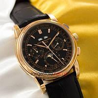 Мужские наручные механические часы Patek Philippe perpetual calendar gold black (05031) реплика, фото 1