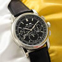 Мужские наручные механические часы Patek Philippe perpetual calendar silver black (05032) реплика, фото 1