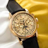 Мужские наручные механические часы Patek Philippe perpetual calendar gold gold (05033) реплика