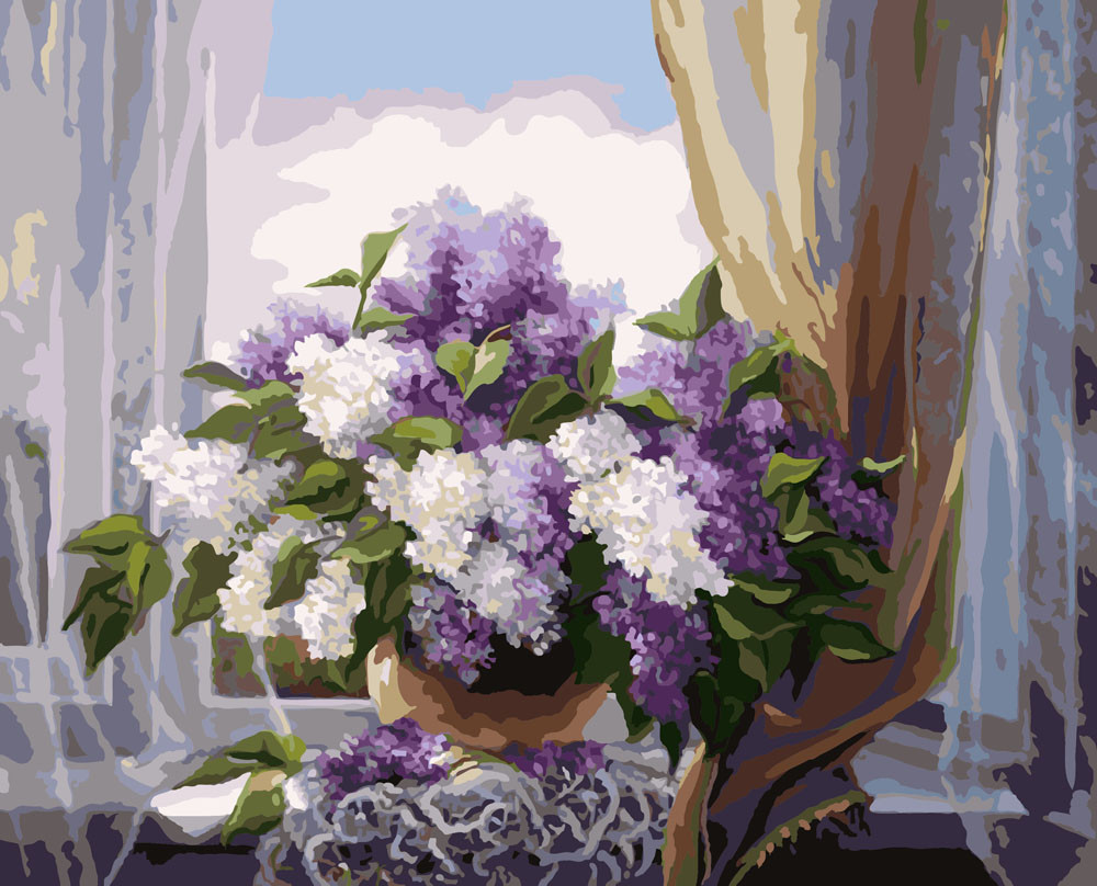 Картина по Номерам 40x50 см. Сирень на окне