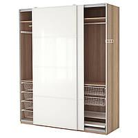 IKEA PAX (490.257.92) Шкаф-купе, окрашенный в белый цвет, Фаркикское белое стекло