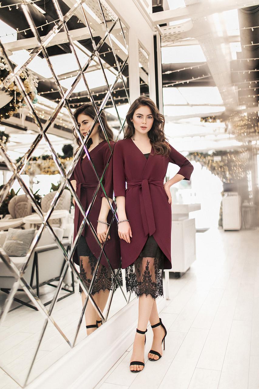 Женское платье-двойка Бордовый