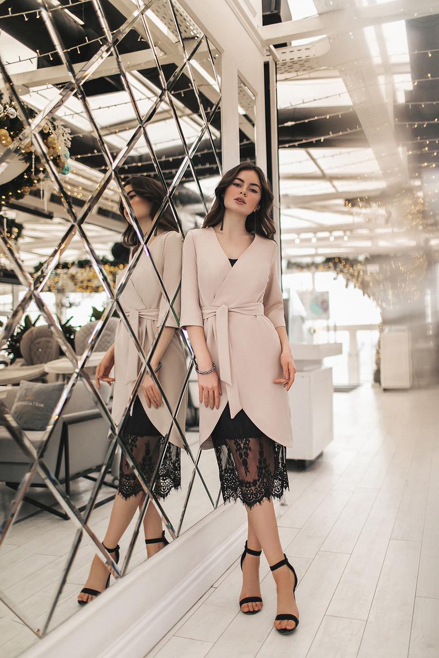 Женское платье-двойка Бежевый