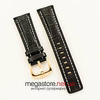 Для часов кожаный ремешок с застежкой Breitling black 24мм (05704), фото 1