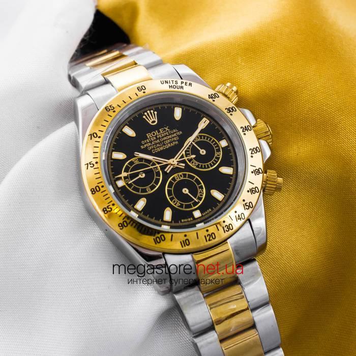 Механические мужские копия часы Rolex cosmograph daytona gold black (05714)  реплика f7fe4db4d412c