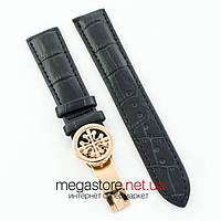 Кожаный ремешок с застежкой для часов Patek Philippe sky moon black gold (05734), фото 1