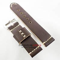 Кожаный ремешок для часов Panerai brown black 24mm (05746), фото 1