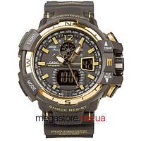 Мужские наручные часы Casio g-shock gwa-1100 gold black (05850) реплика