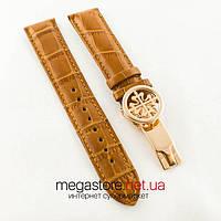 Кожаный ремешок с застежкой для часов Patek Philippe sky moon brown gold (05895)