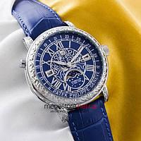 Мужские наручные кварцевые часы Patek Philippe sky moon silver blue (05900) реплика
