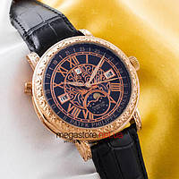 Мужские наручные кварцевые часы Patek Philippe sky moon gold black (05904) реплика