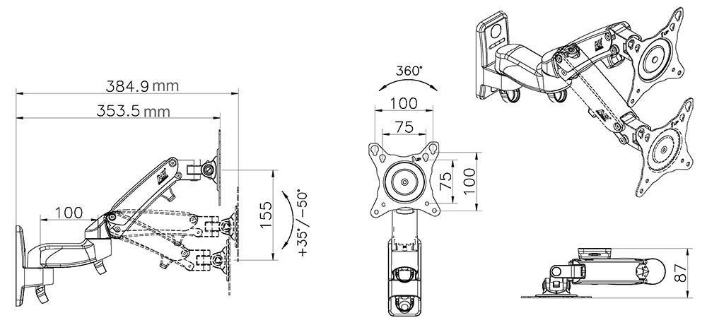 Кронштейн настенный F150