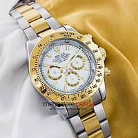 Мужские копия механические часы Rolex cosmograph daytona silver gold white (05923) реплика, фото 1