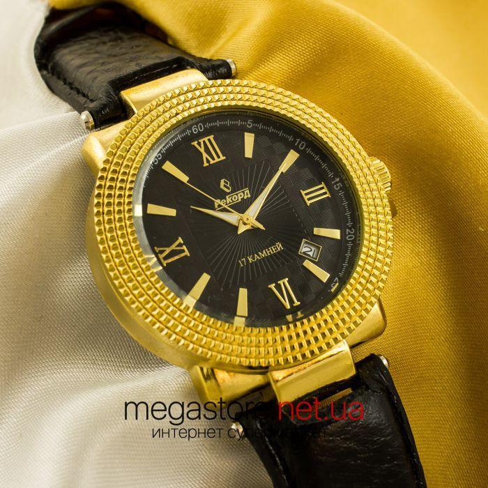 a726f78d Мужские Наручные Часы Рекорд Gold Black (05944) — в Категории